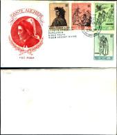 834)F.D.C.VATICANO DANTE ALIGHERI 18 /5/65 4 VALORI 10+40+70+200£ - FDC
