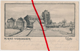 PostCard - Verlinghem - Zeichnung Von E. Lohs - Feldpost 1916 - Briefstempel 36 D. Mil.-Eisenbahndirektion 1 - Lille