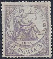 ESPAÑA 1874 - Edifil #144 Sin Goma (*) - 1873-74 Regentschaft
