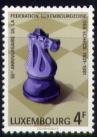 Echecs Timbre Neuf Luxembourg 1981 Y:983 Cote/value:2€ Chess Stamp MNH - Echecs