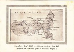 Isola D´elba,elbe,carte,map Old ,superficie Km 2 ,223,5,sviluppo Costiero 147 Km, - Livorno