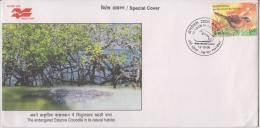 India  2006  Esturine Crocodile  Prt Blair  Bird Stamp Special Cover # 83037  Inde Indien - Reptiles & Amphibians