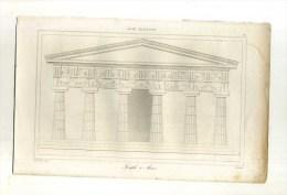 - ASIE MINEURE . TEMPLE A ASSOS. GRAVURE SUR ACIER 1ere1/2 XIXe S. - Architecture