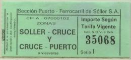 BILLETE DE FERROCARRIL DE SOLLER MALLORCA (ESPAÑA) // (A6) - Chemins De Fer