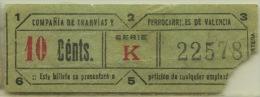 TICKET TRAM VALENCIA (ESPAÑA). // 1940-50 // (A6) - Tram