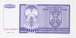 Srpska Krajina - Knin; Bankonote 5 000 000 000 Dinara 1993(Pick-R18) - Croatia