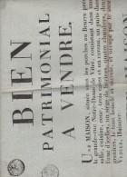 AFFICHES  DE  1808  BIEN PATRIMONIAL A VENDRE  A  VITRE - Affiches