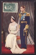 CPA COULEUR THEIR MAJESTIES KING GEORGE VI AND QUEEN ELIZABETH- TIMBRE FRANCAIS  N° 377-  1938 - Unclassified
