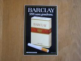 BARCLAY Cigarettes Publicité  Autocollant Sticker Autres Collections - Stickers