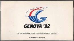 ATHLETICS - ITALIA GENOVA 1992 - XXII CAMPIONATI EUROPEI INDOOR D´ATLETICA LEGGERA - FOLDER CON 9 CARTOLINE UFFICIALI - Atletica