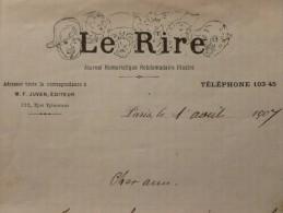 LE RIRE LETTRE AUTOGRAPHE JEAN VALMY BAYSSE 1907 - Autographs
