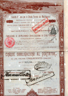 SOCIETA´ ITALIANA PER LE STRADE FERRATE DEL MEDITERRANEO-CINQUE OBLIGAZIONI AL PORTATORE-MILANO-1-7-1887 - Chemin De Fer & Tramway