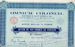 SOCIETE´ ANONYME-OMNIUM COLONIAL-PARIS-31-1-1927- ACTION DE 500 FRANCS - Azioni & Titoli