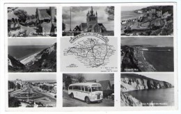 A MOTOR TOUR OF THE ISLE OF WIGHT - MULTIVIEW / AUTOBUS / STAMPS WITH GRAPHITE LINES - Inghilterra
