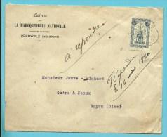 164 (Perron Liege) op brief ontwaard met noodstempel PERUWELZ / CAISSE (rare noodstempel op Perron Liege) !!!