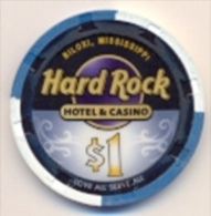Hard Rock Casino, Biloxi,  MS, U.S.A. $1 Chip, Used Condition, Hardrock-1 - Casino