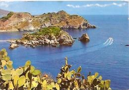 ITALIA, SICILIA, CATANIA, TAORMINA CARTOLINA POSTALE ISOLA BELLA E CAPO S. ANDREA. NON CIRCOLATA.  GECKO. - Catania