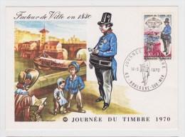 (RECTO / VERSO) 1970 - JOURNEE DU TIMBRE - BOULOGNE SUR MER - Cartes-Maximum