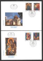 Jugoslawien – Yugoslavia 1993 Art – Icons On 2 FDCs; Michel # 2637-40 - FDC