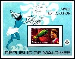 Malediven / Maldives: ´Kennedy - Apollo In Space, 1973´, Mi. BL 20 B; Yv. BF 21 ND; Sc. 479 Imperf. ** - Space