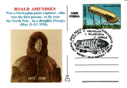 Roald Amundsen Norvegian Polar Explorer Fly Over The Nort Pole In A Dirigible Zeppelin Card 101 - Airships