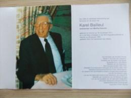 Doodsprentje Karel Bailleul Veurne 18/11/1911 - 26/1/1995 ( Martha Deturck ) - Religione & Esoterismo