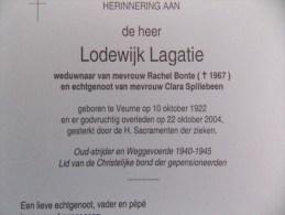 Doodsprentje Lodewijk Lagatie Veurne 10/10/1922 - 22/10/2004 ( Rachel Bonte En Clara Spillebeen ) - Religión & Esoterismo