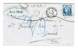 1871 Brief Puy En Velay Nach Zürich Mit 20 C. Blau Ceres Ungenügend Frankiert - 1871-1875 Cérès