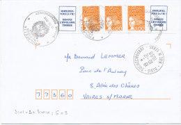 LUQUET AUTOCOLLANTS DE CARNET SUR LETTRE (1 Orange X 2 + Idem Av Vignette - 1961-....