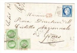 1873 Lettre D´Alger Pour Gênes Italie - Affranch. Ceres 3 X 5 + 1 X 20 Cts - 1871-1875 Cérès