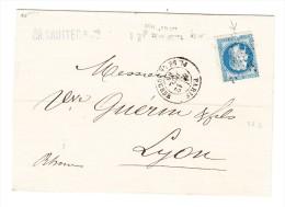 """1870 Yv.# 29B """"Variété Cassure Bord Inférieur Du Cadre"""" Sur Lettre De Paris Vers Lyon - Signée - 1863-1870 Napoléon III Lauré"""