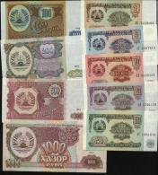 TAJIKISTAN. 9 Value 1994 SET. 1-1000 Rubles. UNC. Pick 179. - Tajikistan