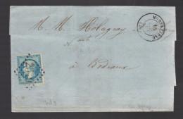 FRANCE N° 22 Obl. S/Lettre Entiére GC 2510 Montrejeau - 1862 Napoleon III