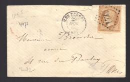 FRANCE N° 21 Obl. S/Lettre Entiére GC 3921 Les Ternes - 1862 Napoléon III.