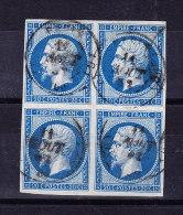 1853 - Katalog Ceres # 14 In Viererblock 20C. Blau Rundstempel - - 1853-1860 Napoléon III