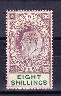 Gibraltar 1911 SG # 74  * - Eight Shillings - Gibraltar