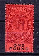 Gibraltar 1912 SG # 85 * One Pound - Gibraltar