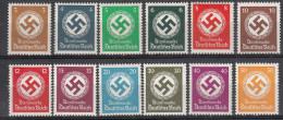 DEUTSCHES REICH DIENSTMARKEN 1934-38 MI 132-43 MNH ** POSTFRISCH NEUFS SANS CHARNIERE GOMMA INTEGRA - Deutschland