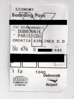 Ticket D´embarquement Vol : Dubrovnik  Paris CDG. ( Voir Commenaires) - Europe