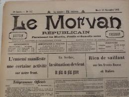 WW1 Journal LE MORVAN REPUBLICAIN Du 30 Novembre 1915 Berry Le Bac / Billy Sous Mangiennes / Roclincourt Etc..... - Magazines & Papers