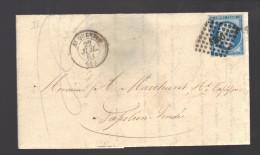FRANCE N° 14 Obl. S/Lettre Entiére PC 3256 Saint Quentin - 1853-1860 Napoleon III