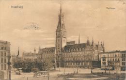 Hamburg.  Rathaus, Tram. - Von C. Worzedialeck, PU 1914 - Sonstige