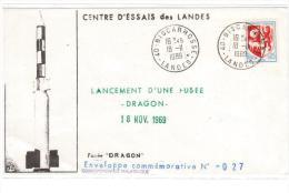 1969 Biscarrosse-Centre D'Essais Des Landes, Lancement De Missiles DRAGON, Enveloppe Commemorative (AG178) - Storia Postale