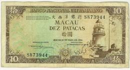 MACAU BANKNOTE, P-59d. 10 PATACAS. 1984 - CIRCULATED 3 PCS THREE PEACES - BANCO NACIONAL ULTRAMARINO - Macao