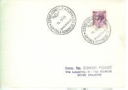 40° CONGRESSO ITALIANO DI ESPERANTO, COMO 1969, ANNULLO SPECIALE  SU CARTOLINA VIAGGIATA - Esperanto