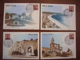 Lot De 4 CPA Nice 1954 Illustrées Par F. D´HEY Signées Par L´auteur Congrès Philatélique - Nice