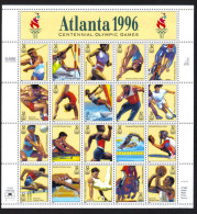 USA 1996 Atlanta 96 Centennail Olympic Games Sheet Of 20 $ 6.40 MNH SC 3068sp YV BF-2490-2509 MI SH2705-24 SG MS3184-203 - Sheets