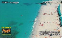 ITALY - Tropea/La Spiaggia, PLANET Prepaid Card LL10000/5.16 Euro, Tirage 50000, Exp.date 31/12/02, Used - Italië