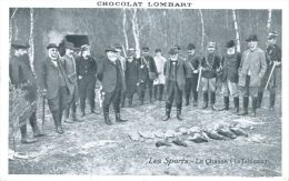 N°38403 -cpa Les Sports : La Chasse -carte Publicitaire Chocolat Lombart- - Hunting