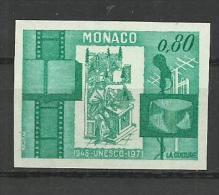 MONACO SELLO SIN DENTAR UNESO 1971 CINE TELECOMUNICACIONES LIBRO CULTURA - UNESCO